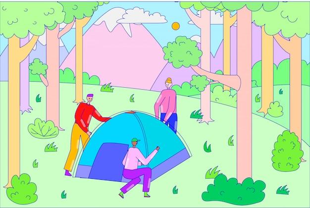 Gruppe leute zusammen installieren zelt, männliche figur wandern camping im freien montage wald linie illustration kunst.