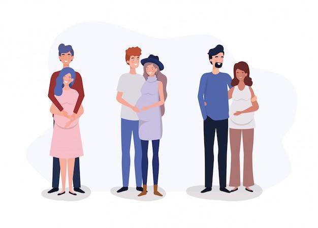 Gruppe liebhaber verbindet schwangerschaftscharaktere
