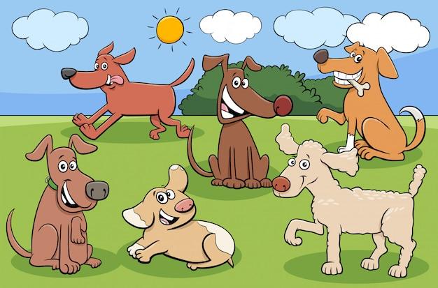 Gruppe lustige charaktere der karikaturhunde und -welpen