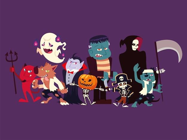 Gruppe lustiger charaktere für halloween