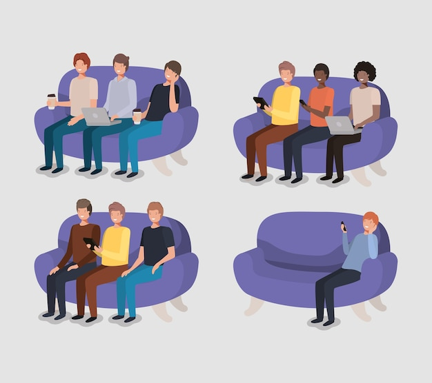 Gruppe männer im wohnzimmer unter verwendung der technologie