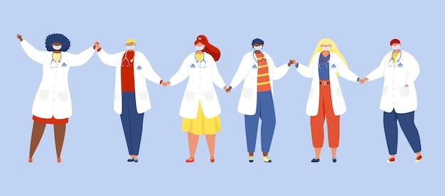 Gruppe medizinischer mitarbeiter, die zusammenstehen und händchen halten