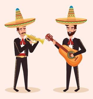 Gruppe mexikanische mariachis mit instrumenten