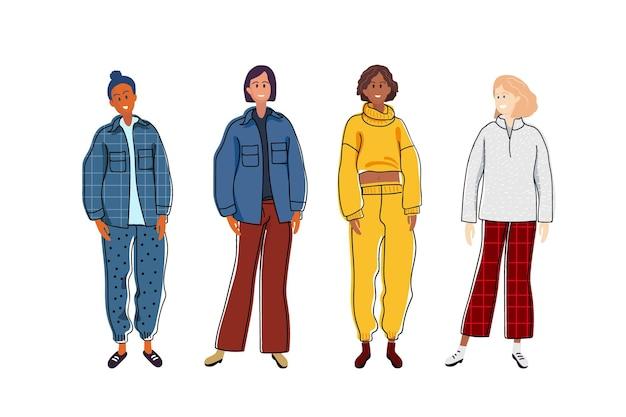 Gruppe modischer frauen mit warmem sweatshirt und hose lässige gemütliche kleidung