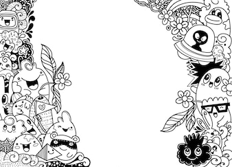Gruppe multikulturelle glückliche nette Monster Schablone für Werbungsbroschüre