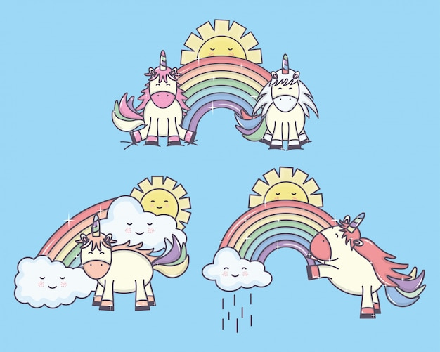 Gruppe nette einhörner mit regenbogen- und sonnencharakteren