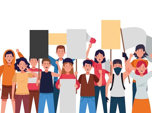 Gruppe protestierender menschen mit brettern und megaphon