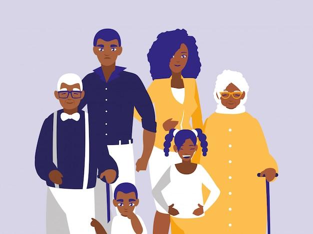 Gruppe schwarze familienmitgliedcharaktere