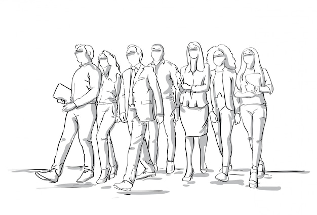 Gruppe skizzen-wirtschaftler, die geschäftsleute und frauen-masse in voller länge gehen