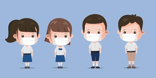Gruppe stehender charakterpose des thailändischen studenten. bangkok thailand lebensstil menschen.