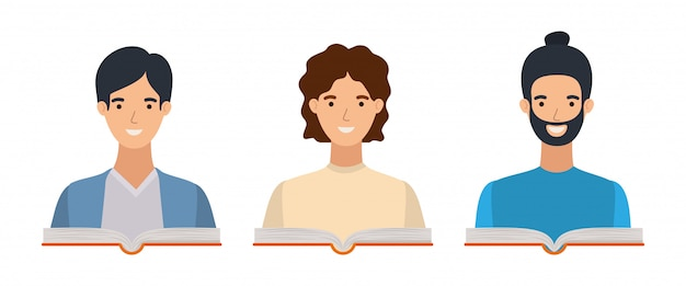 Gruppe studentenjungen, die bücher lesen