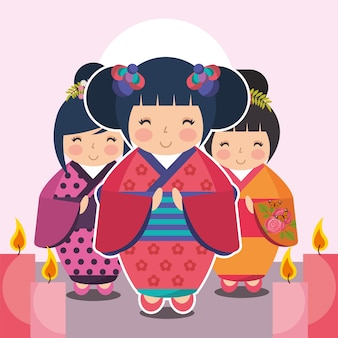 Gruppe süße japanische kokeshi puppe im kimono