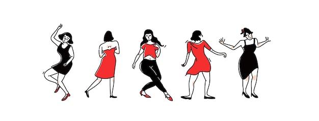 Gruppe tanzender mädchen und frauen in partykleidern. lady solo dance im club, weibliche charaktere haben spaß. schwarze und rote umrissvektorillustration lokalisiert auf weißem hintergrund.