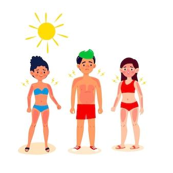 Gruppe verschiedener leute mit einem sonnenbrand