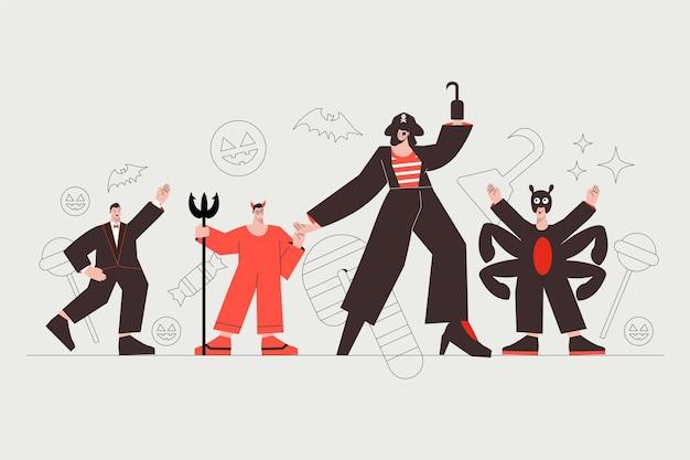 Gruppe verschiedener menschen in halloween-kostümen