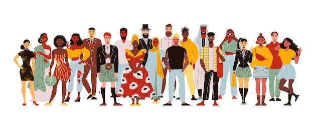 Gruppe verschiedener menschen mit unterschiedlicher ethnischer zugehörigkeit