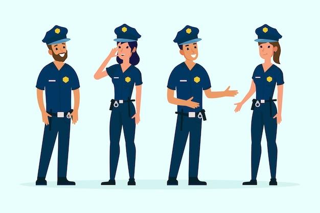 Gruppe verschiedener polizisten