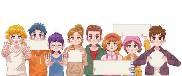 Gruppe von acht niedlichen jungen teenager-manga-anime-charakteren mit protestbannerillustration