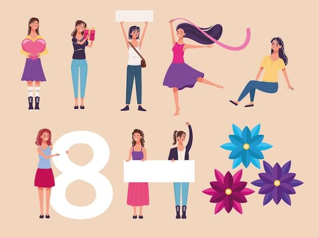 Gruppe von acht schönen jungen frauen, die illustration feiern