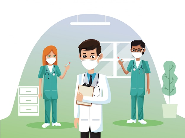 Gruppe von ärzten, die medizinische masken tragen