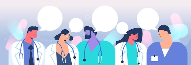 Gruppe von ärzten diskutieren während des treffens chat blase kommunikation gesundheitswesen medizin konzept horizontale porträt vektor-illustration