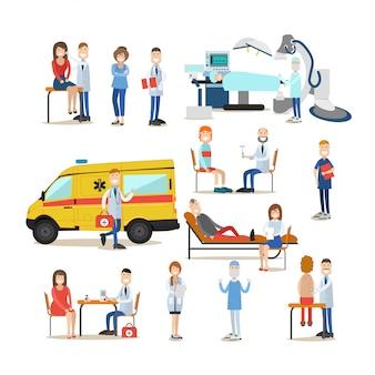 Gruppe von ärzten, sanitätern und patienten flach