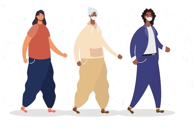 Gruppe von afro-frauen, die medizinische maskenzeichen tragen