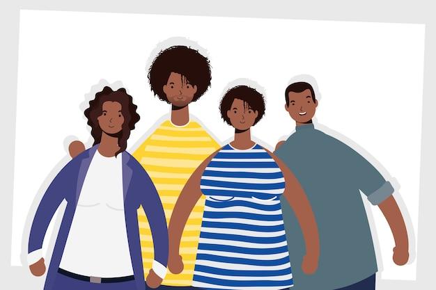 Gruppe von afro-personen-charakteren