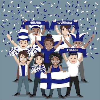 Gruppe von anhängern der finnischen fußballnationalmannschaft