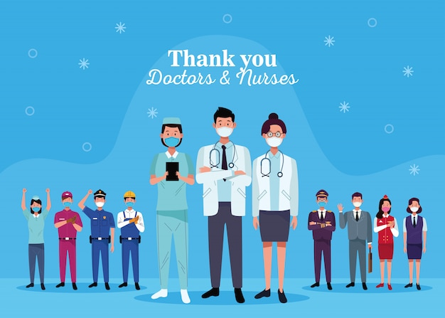 Gruppe von arbeitern mit gesichtsmasken mit dankeschön ärzte und krankenschwestern nachricht