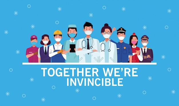 Gruppe von arbeitern mit gesichtsmasken und zusammen sind wir unbesiegbar