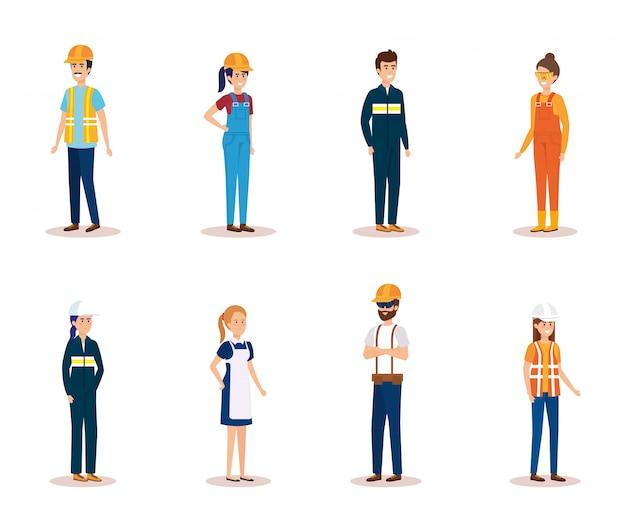 Gruppe von arbeiterzeichen