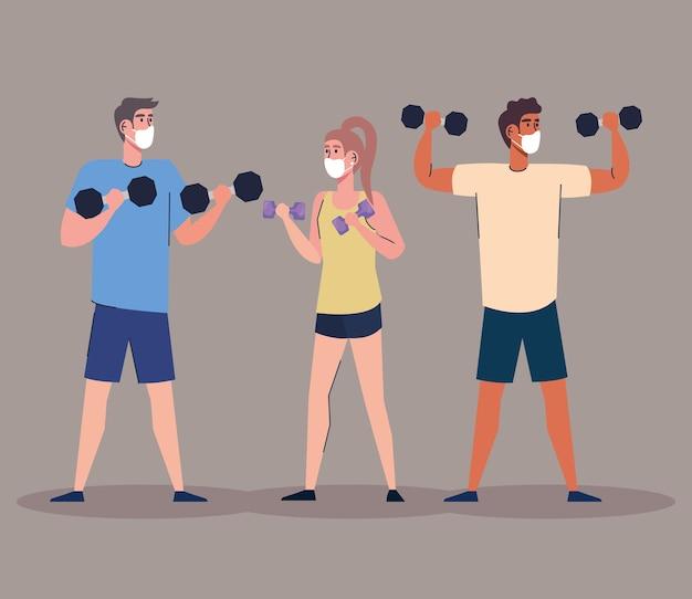 Gruppe von athleten, die kurzhantelcharakter-illustrationsentwurf anheben Premium Vektoren