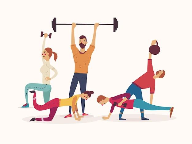 Gruppe von athleten, die mit gewichten und kettlebells arbeiten, die hanteln heben. Premium Vektoren