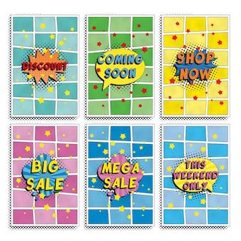 Gruppe von 'black friday sale' flyer design-vorlagen im retro-pop-art-stil.