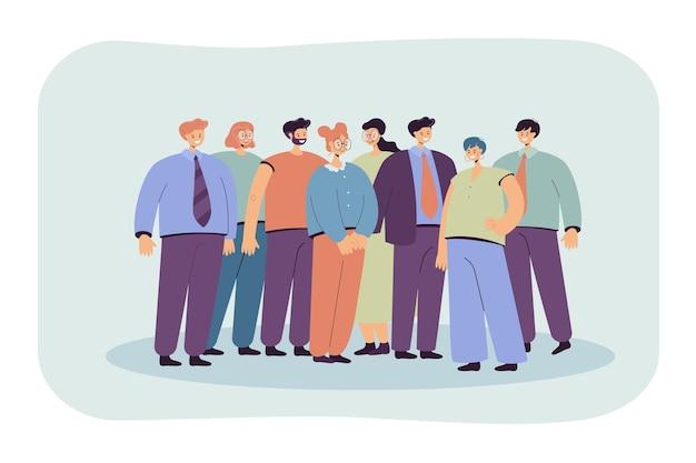 Gruppe von büroangestellten, die zusammen flache illustration stehen