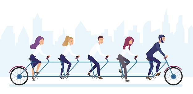 Gruppe von bürogeschäftsleuten, die fahrrad zusammen fahren. tandem fahrrad teamwork konzept brvyot illustration