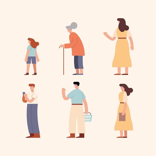 Gruppe von diversity-personen-charakteren