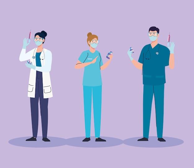 Gruppe von drei ärzten mit impfstoff covid19 team