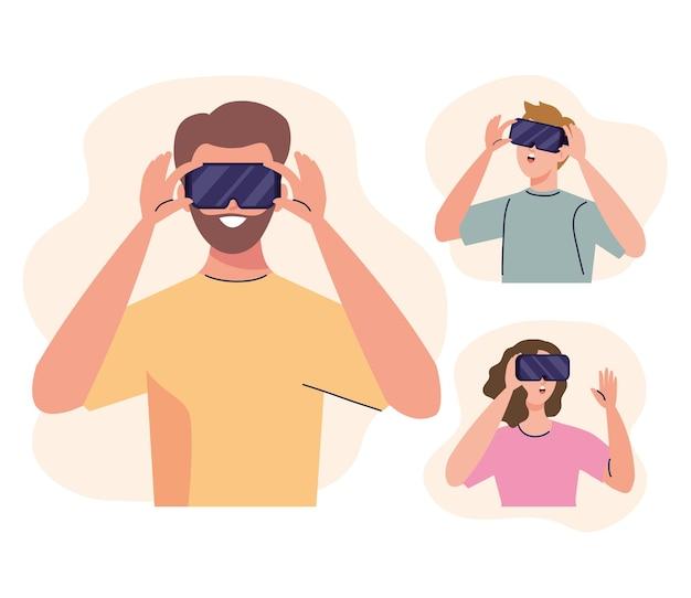 Gruppe von drei jungen menschen, die die virtual-mask-technologie der realität verwenden