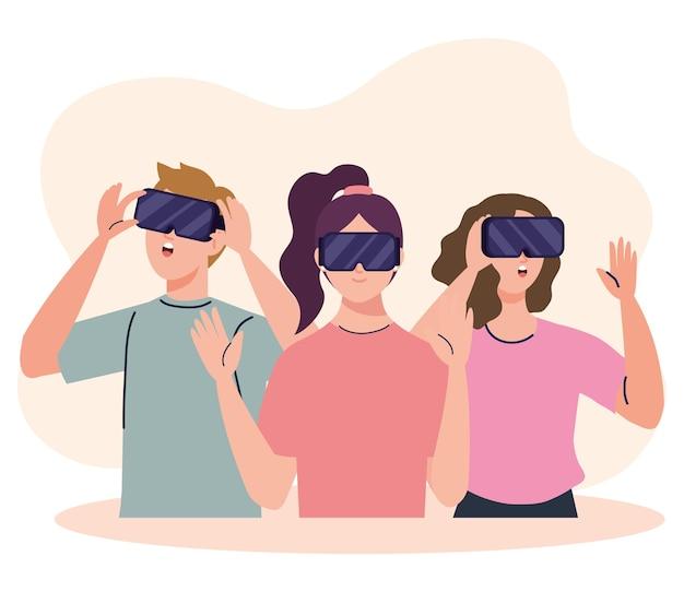 Gruppe von drei jungen menschen, die geräte der virtuellen virtual-mask-technologie verwenden