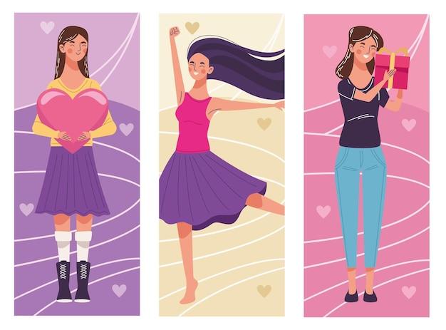 Gruppe von drei schönen jungen frauen, die illustration feiern