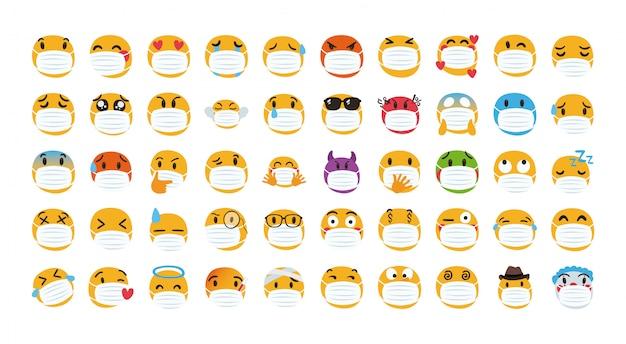 Gruppe von emojis, die medizinische maske tragen