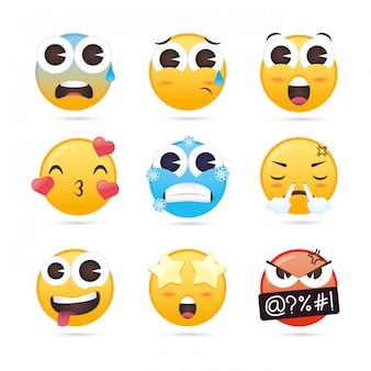 Gruppe von emojis steht lustigen charakteren gegenüber
