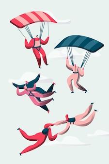 Gruppe von fallschirmspringern fliegen zwischen wolken.