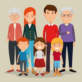 Gruppe von familienmitgliedern avatare zeichen