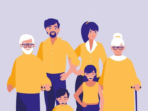 Gruppe von familienmitgliedern zeichen