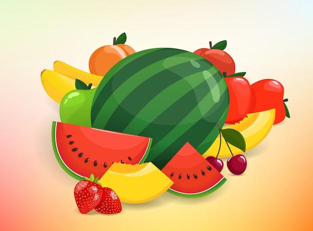 Gruppe von farbigen früchten