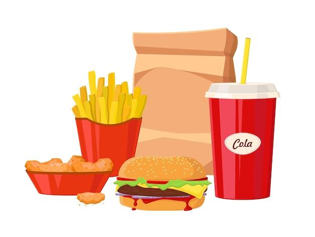Gruppe von fast-food-produkten. fast-food-hamburger-abendessen und restaurant, leckeres fast-food-set mit vielen mahlzeiten und ungesunde klassische fast-food-ernährung im flachen stil.
