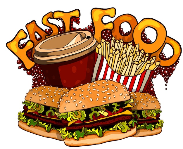 Gruppe von fast-food-produkten. vektor-illustration